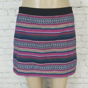 American Eagle Woven Pink Blue Stripe Mini Skirt 6